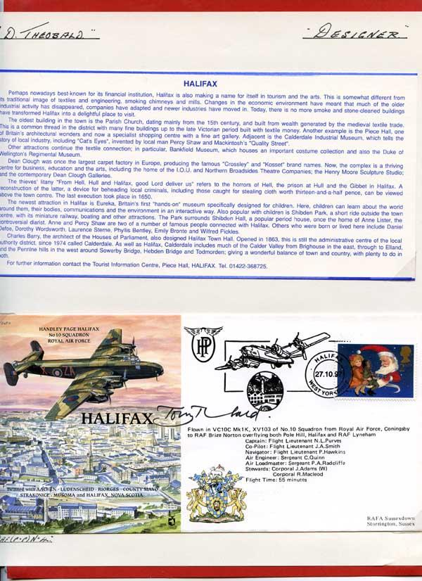 Details about RAF(PandP)4 Handley Page Halifax Signed by Designed Tony  Theobald